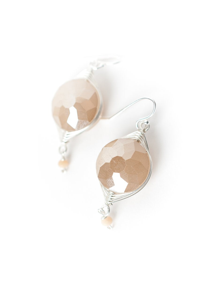 Herringbone Cream Crystal Dangle Earrings