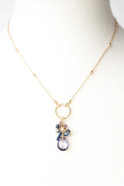 "Midnight 16-18"" Crystal Cluster Pendant Necklace"