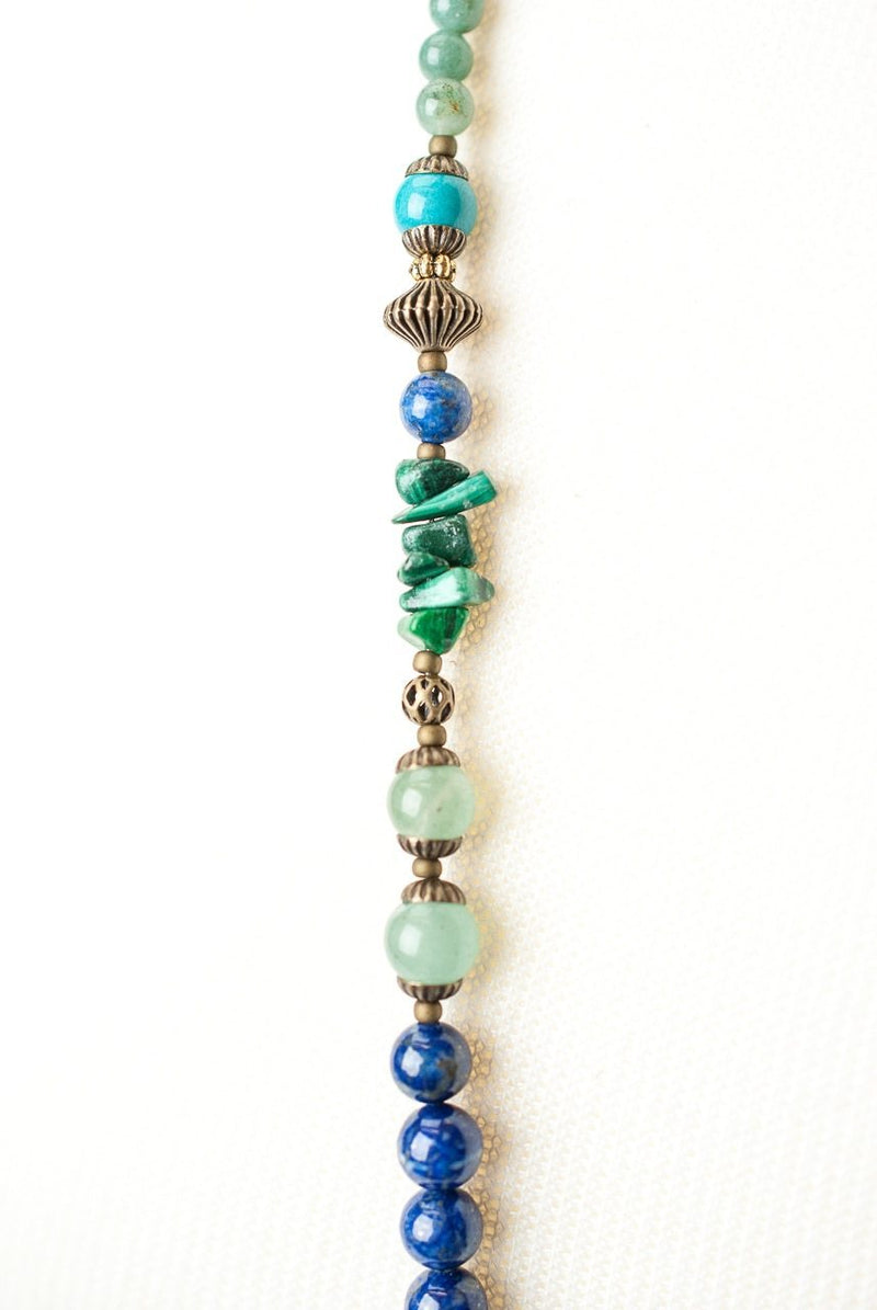 "Azure 38-40"" Long Tibetan Focal Collage Necklace"