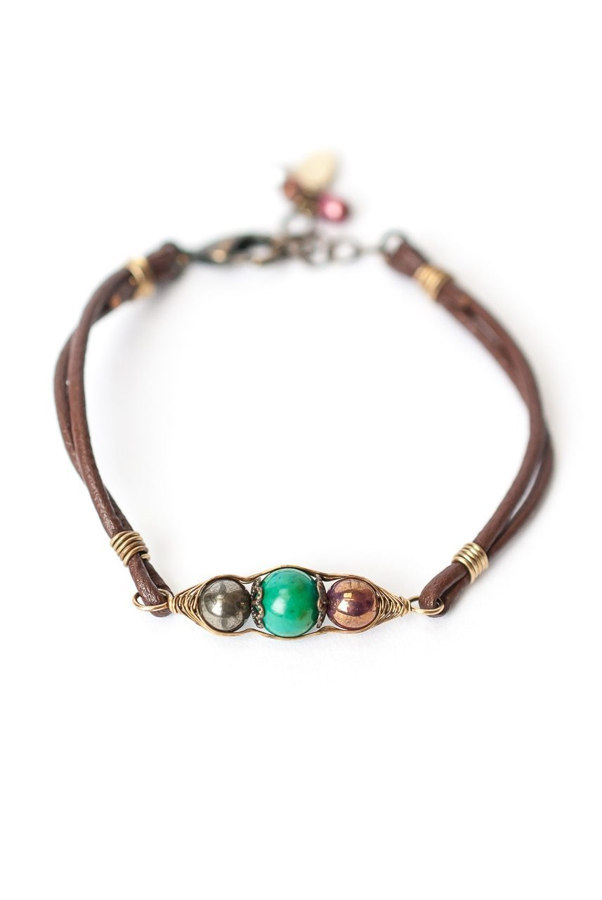 Eat Love Pray Simple Gemstone & Leather Bracelet