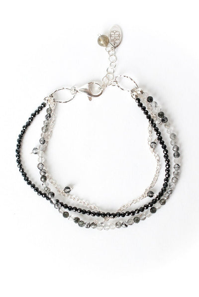 "Luna 7.5-8.5"" Tourmalated Quartz Multistrand Bracelet"