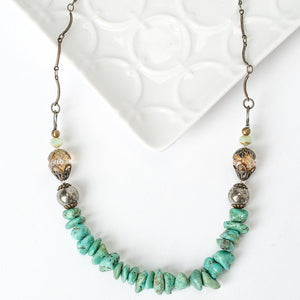 """Rustic Creek 16-18"""" Simple Turquoise Layer Necklace"""
