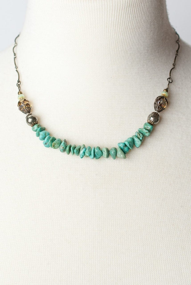 "Rustic Creek 16-18"" Simple Turquoise Layer Necklace 1"