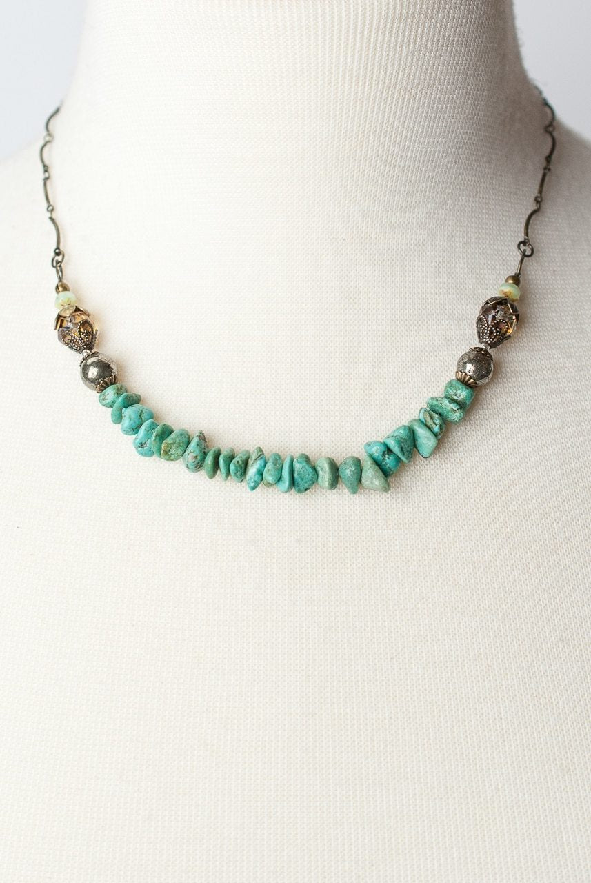 "Rustic Creek 16-18"" Simple Turquoise Layer Necklace"