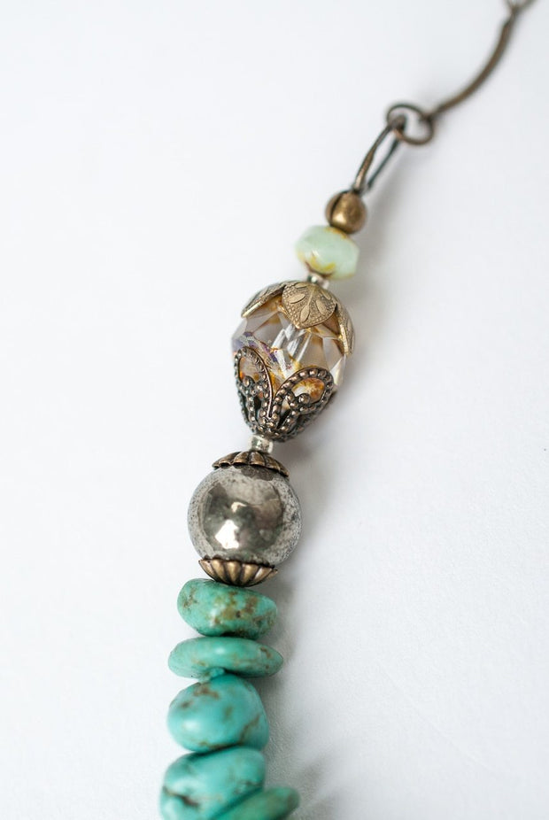 """Rustic Creek 16-18"""" Simple Turquoise Layer Necklace 1"""
