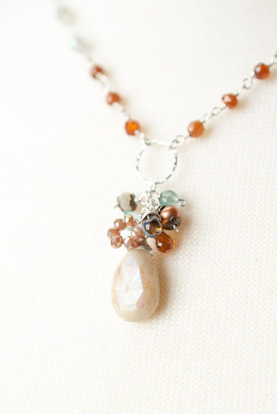 "Summer Rain 17.5-19.5"" Gemstone Cluster Necklace"