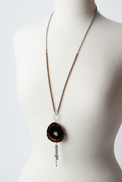 "Willow Creek 31-33"" Agate Slice Tassel Focal Necklace"