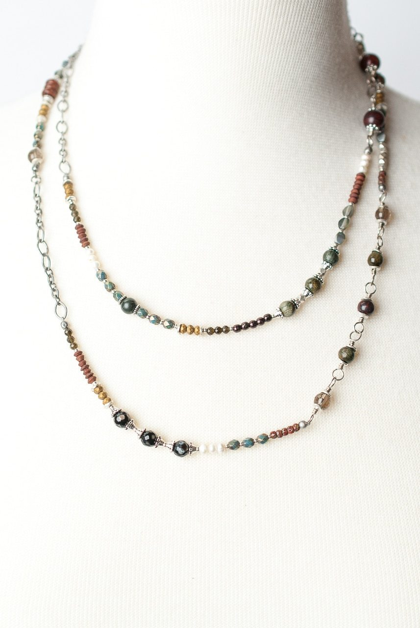 "Willow Creek 43-45"" Long Gemstone Collage Layer Necklace"