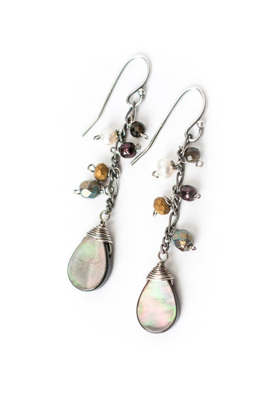 Willow Creek Simple Abalone Cluster Dangle Earrings