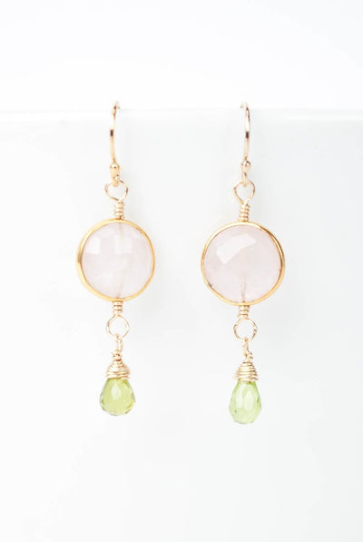 Radiance Moonstone Bezel & Peridot Dangle Earrings