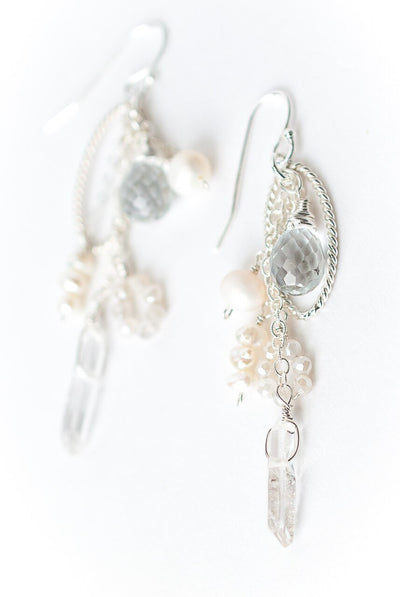 Solara Quartz Tassel Hoop Earrings