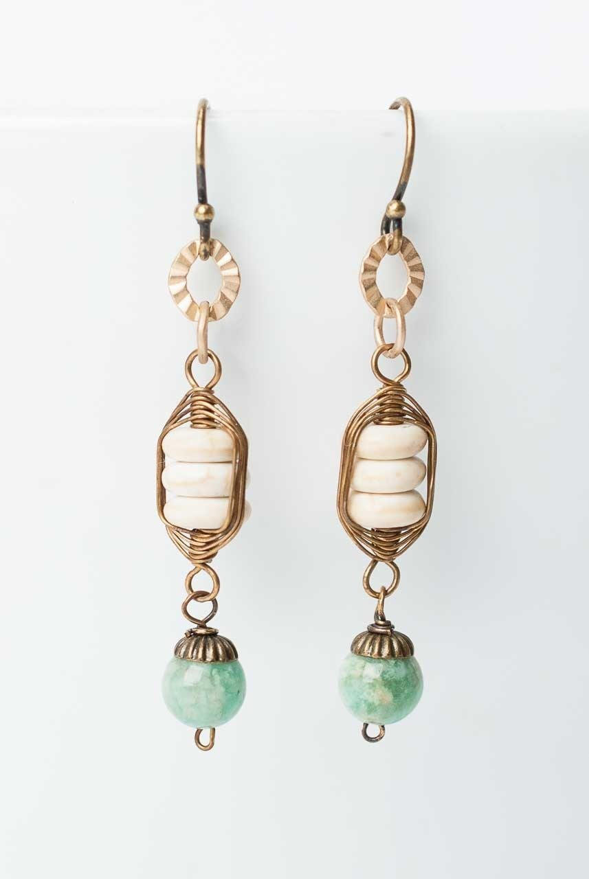 Pluma Herringbone Amazonite Dangle Earrings