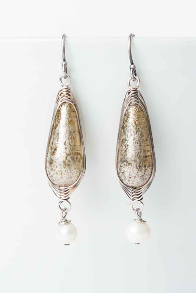Tundra Czech Glass Herringbone Earrings