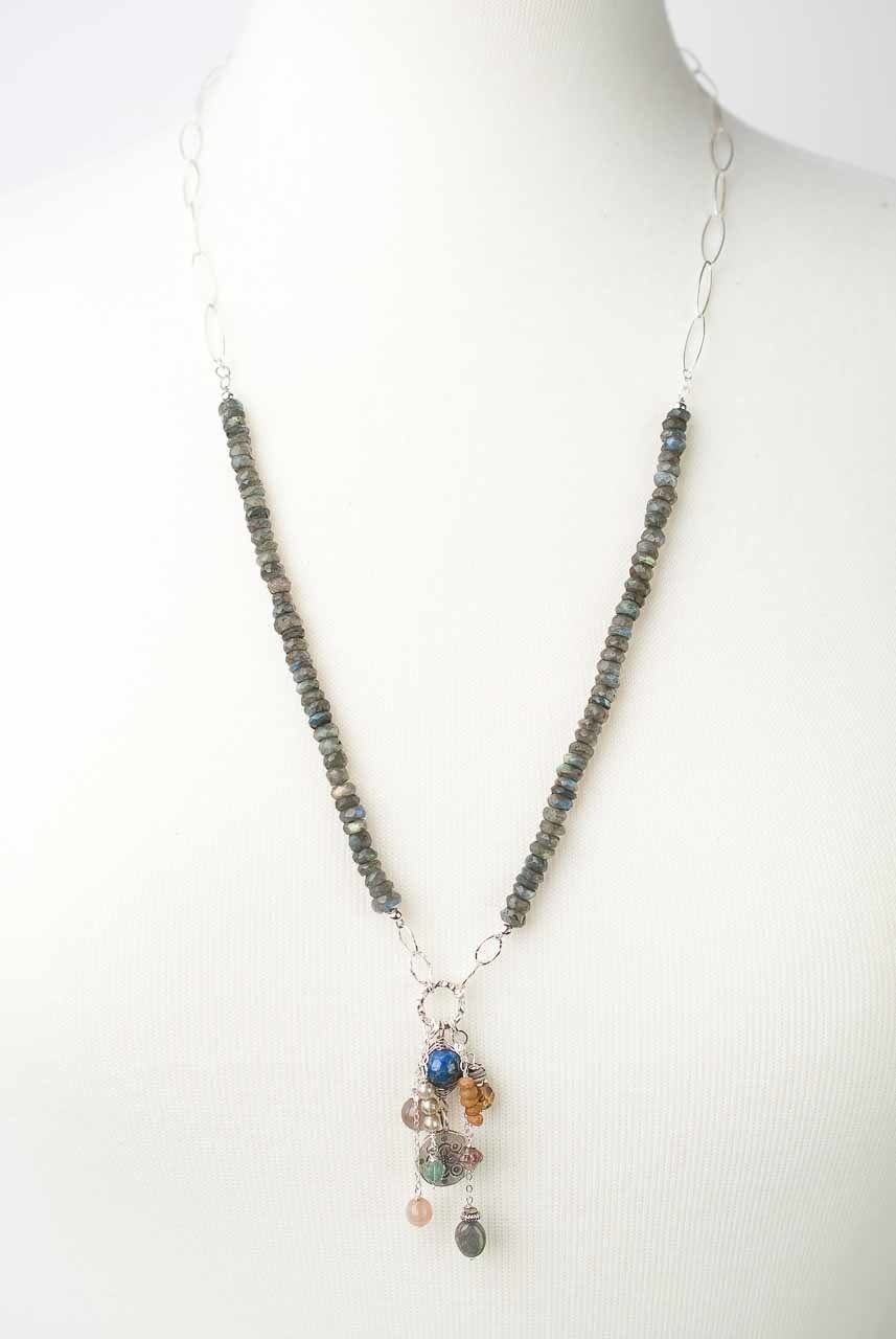 "Cascades 27-29"" Gemstone Tassel Focal Necklace"