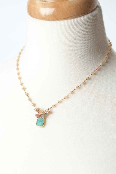 "Cody's Call 16.5-18.5"" Amazonite Cluster Necklace"