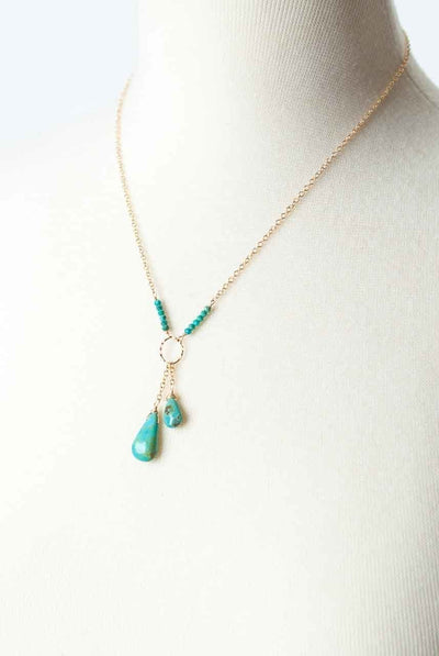 "Cody's Call 17-19"" Turquoise Briolette Dangle Necklace"