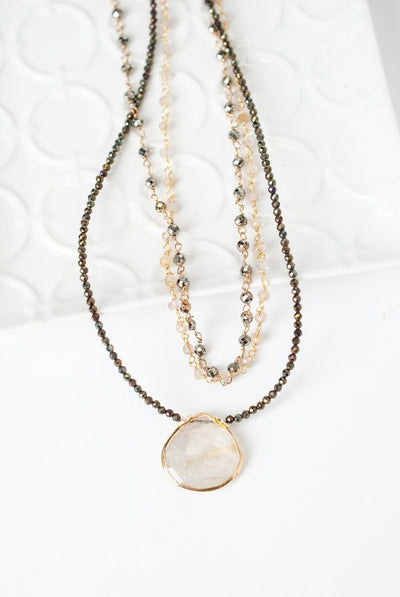 "Ignite 17-19"" Rutilated Quartz Focal Multistrand Necklace"