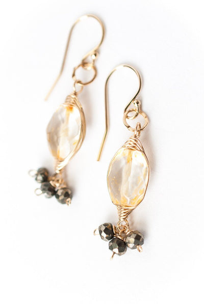 Ignite Citrine Herringbone Dangle Earrings