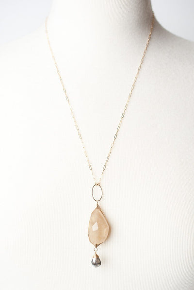 "Ignite 23-25"" Rutilated Quartz Herringbone Pendant Necklace"