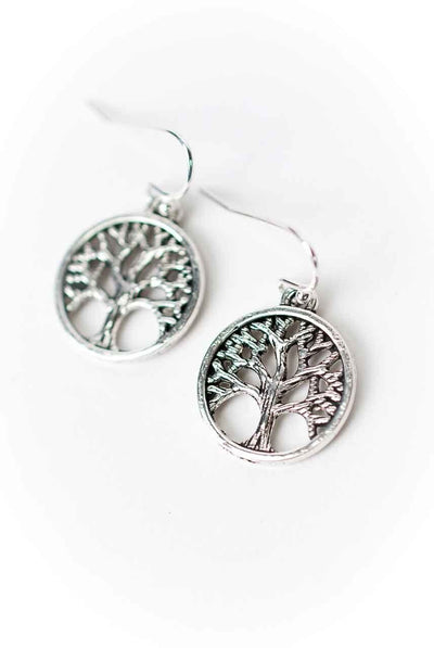 Life Pewter Tree of Life Earrings