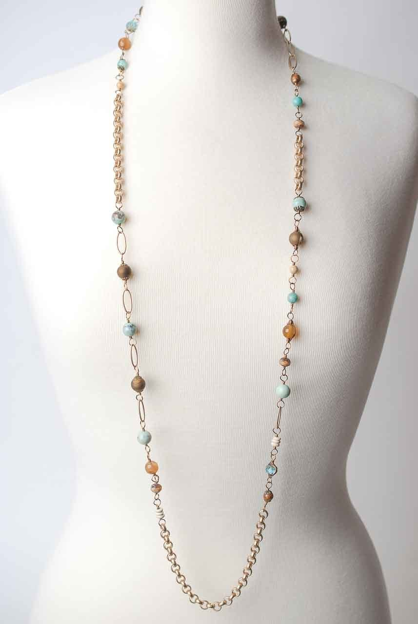 "Pluma 46-48"" Long Collage Layerr Necklace"
