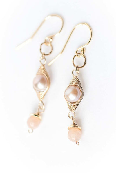 Radiance Herringbone Pearl Dangle Earrings
