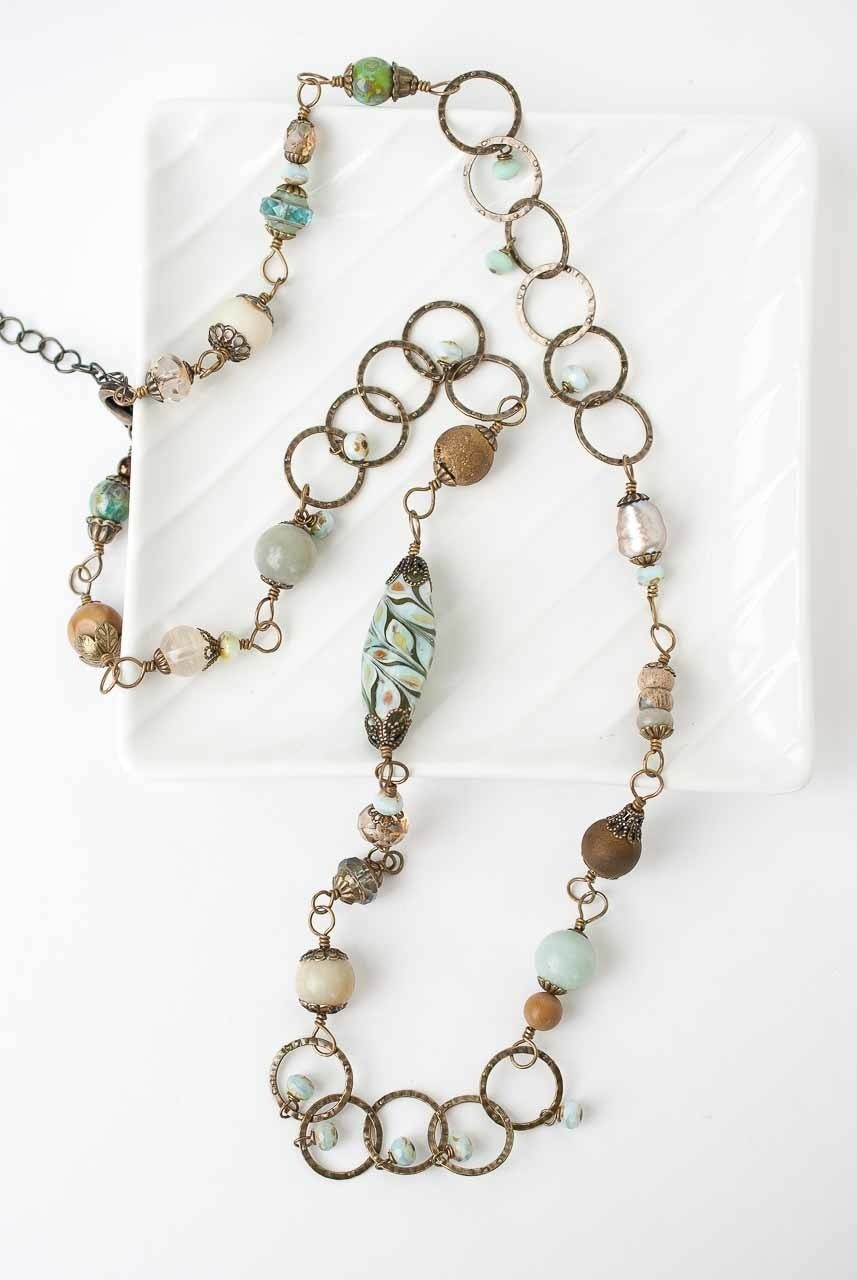 "Rustic Creek 26.5-28.5"" Glass and Gemstone Collage Necklace"