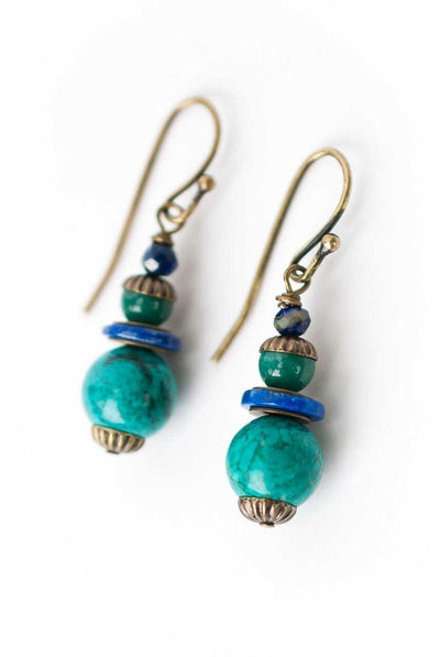 Azure Simple Turquoise Drop Earrings
