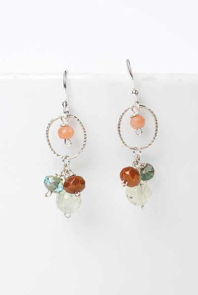 Gentle Breeze Gemstone Cluster Hoop Earrings