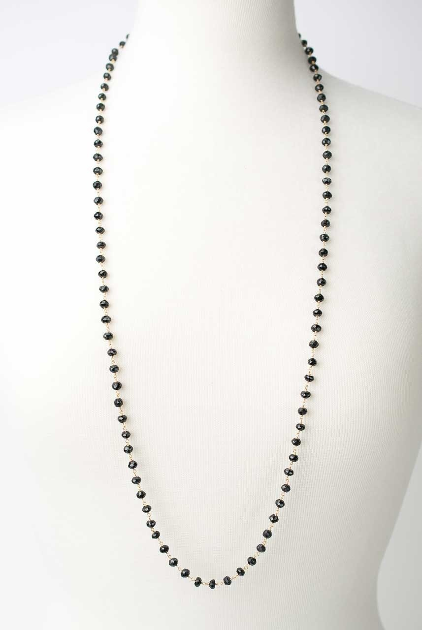 "Lucky Charm 36-38"" Black Spinel Layer Necklace"