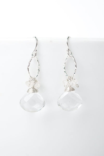 Solara Quartz Dangle Hoop Earrings