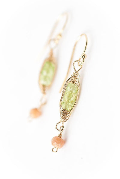 Radiance Peridot Herringbone Dangle Earrings