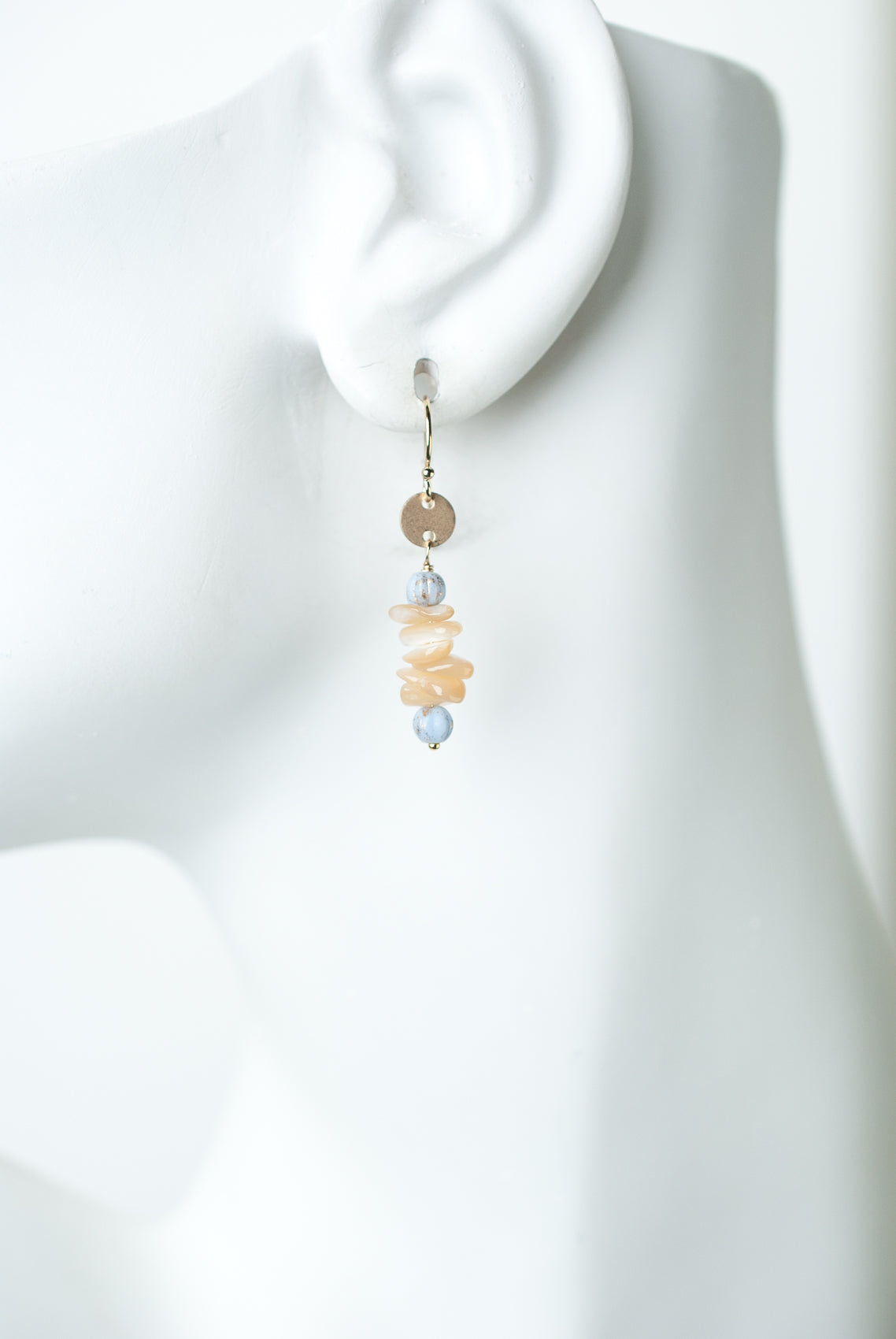 Blue Lace Mother of Pearl Simple Dangle Earrings