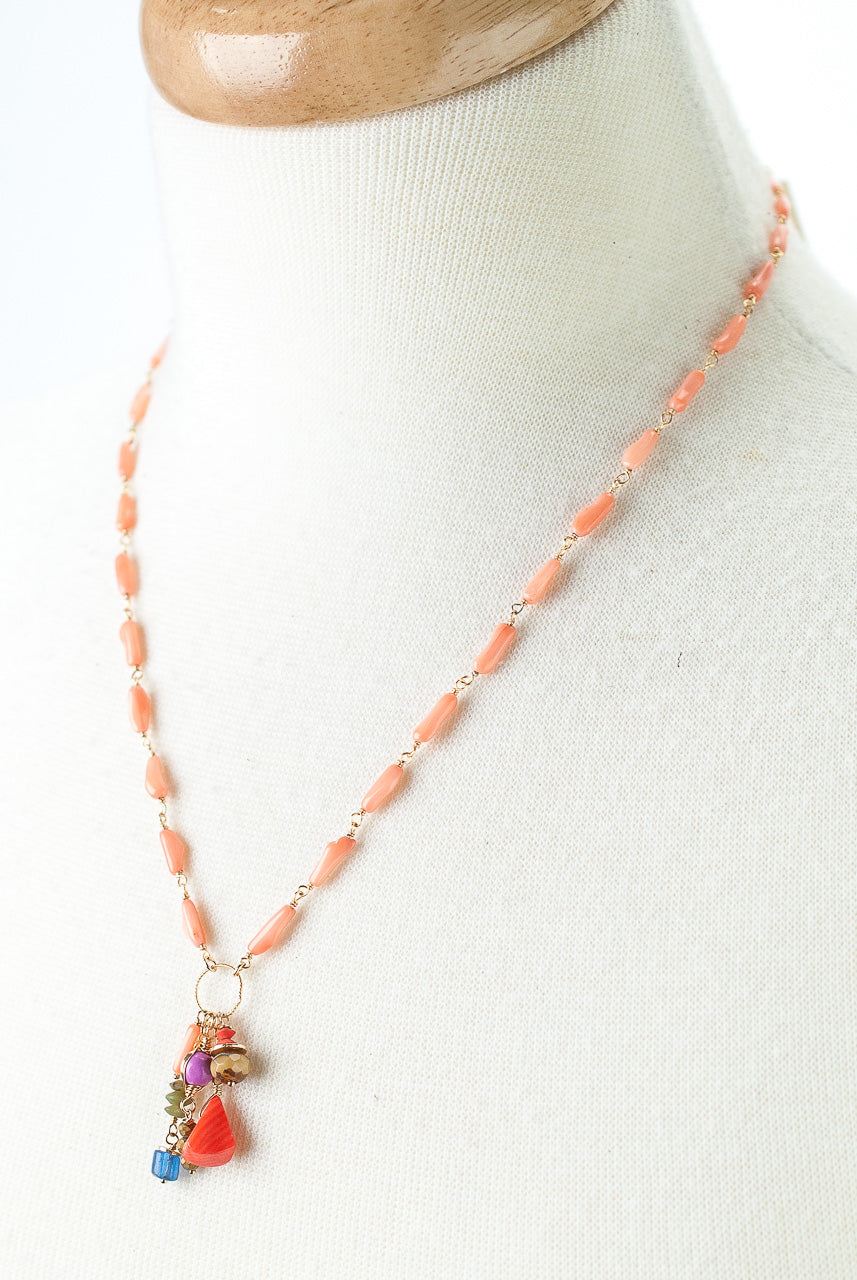 "Bountiful 18-20"" Coral, Czech Glass, Trade Bead Tassel Necklace"