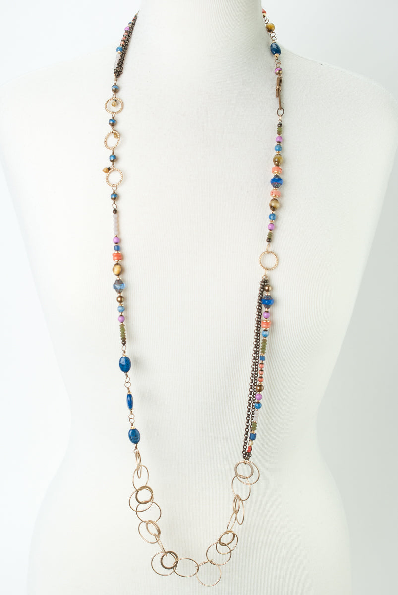 "Bountiful 45-47"" Coral, Czech Glass, Lapis Collage Necklace"