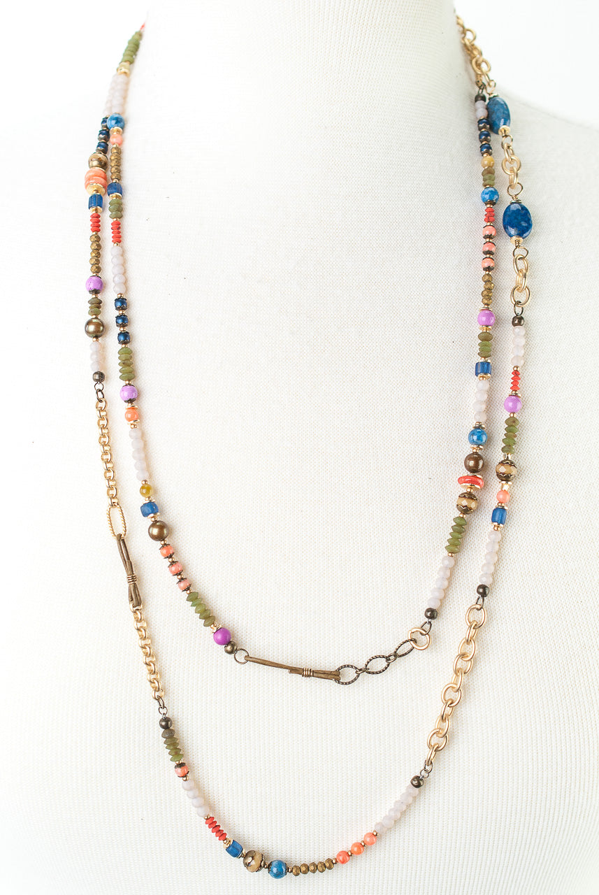 "Bountiful 55-58"" Coral, Czech Glass, Lapis Collage Necklace"