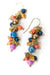 Bountiful Coral, Czech Glass, Pearl Triple Cluster Earrings