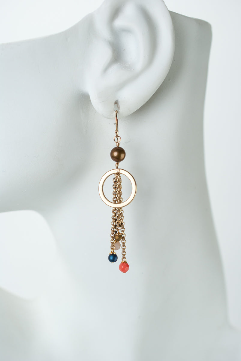Bountiful Coral, Czech Glass, Pearl Hoop Tassel Earrings