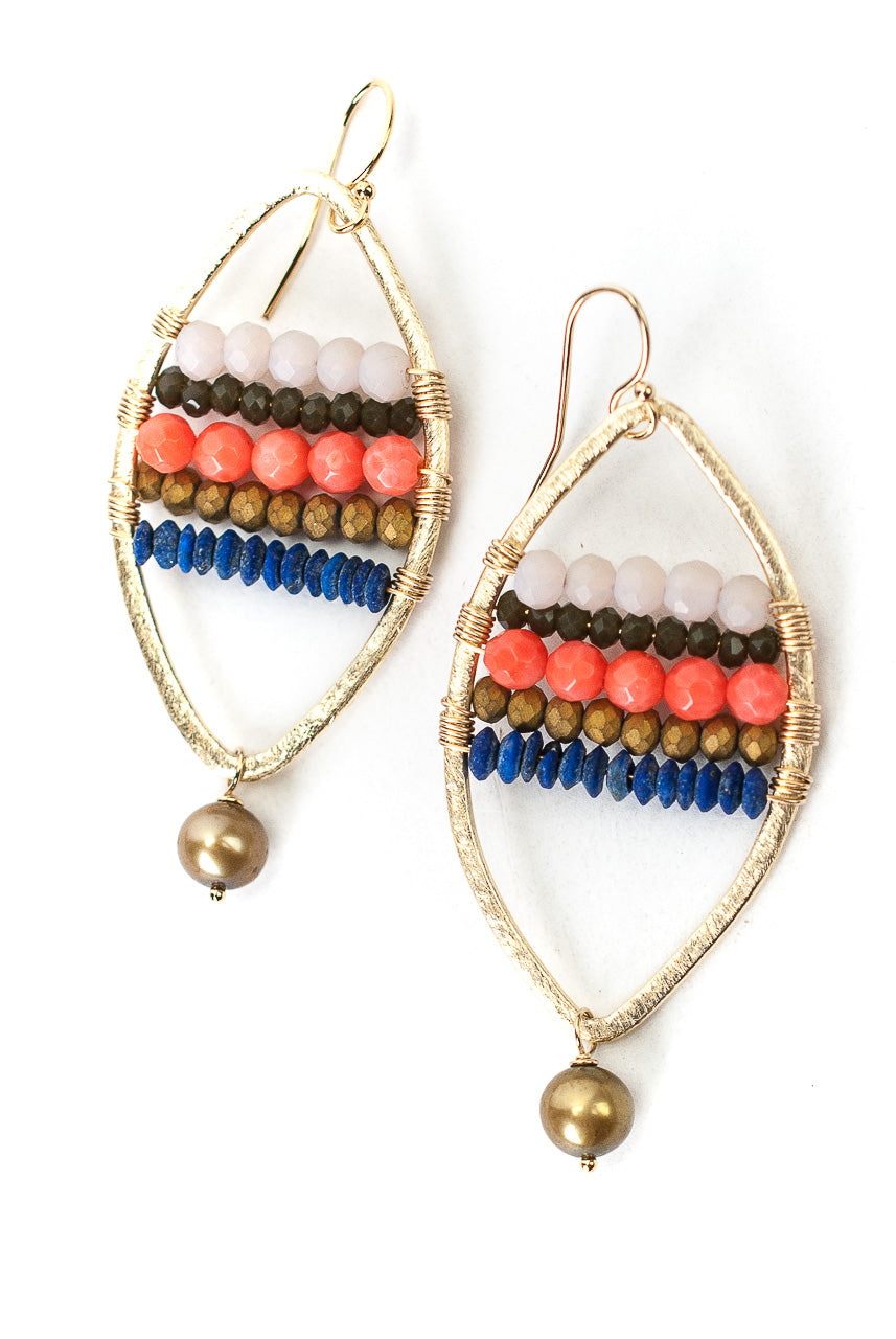 Bountiful Pearl, Coral, Crystal Woven Hoop Earrings