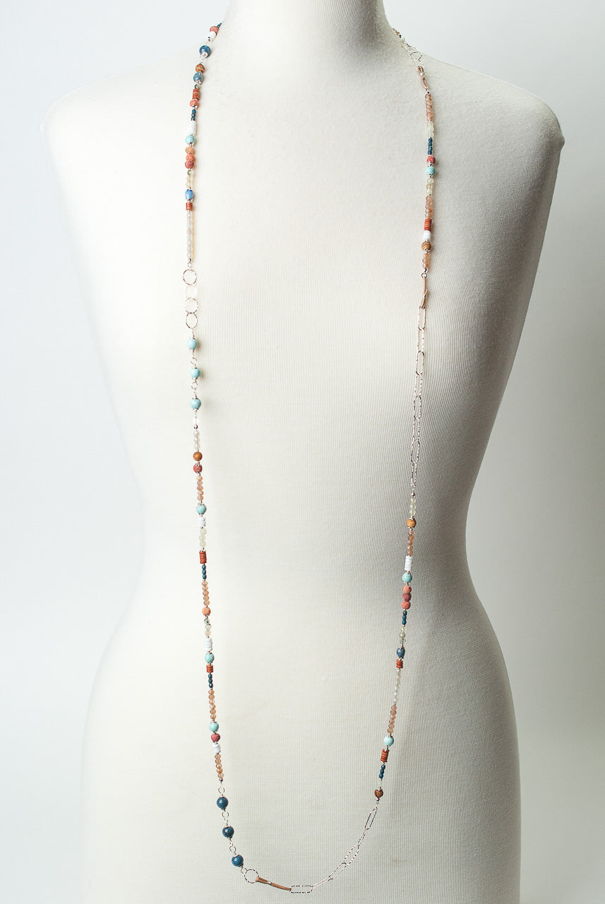 "*Baja 58-60"" Long Collage Wrap Necklace"