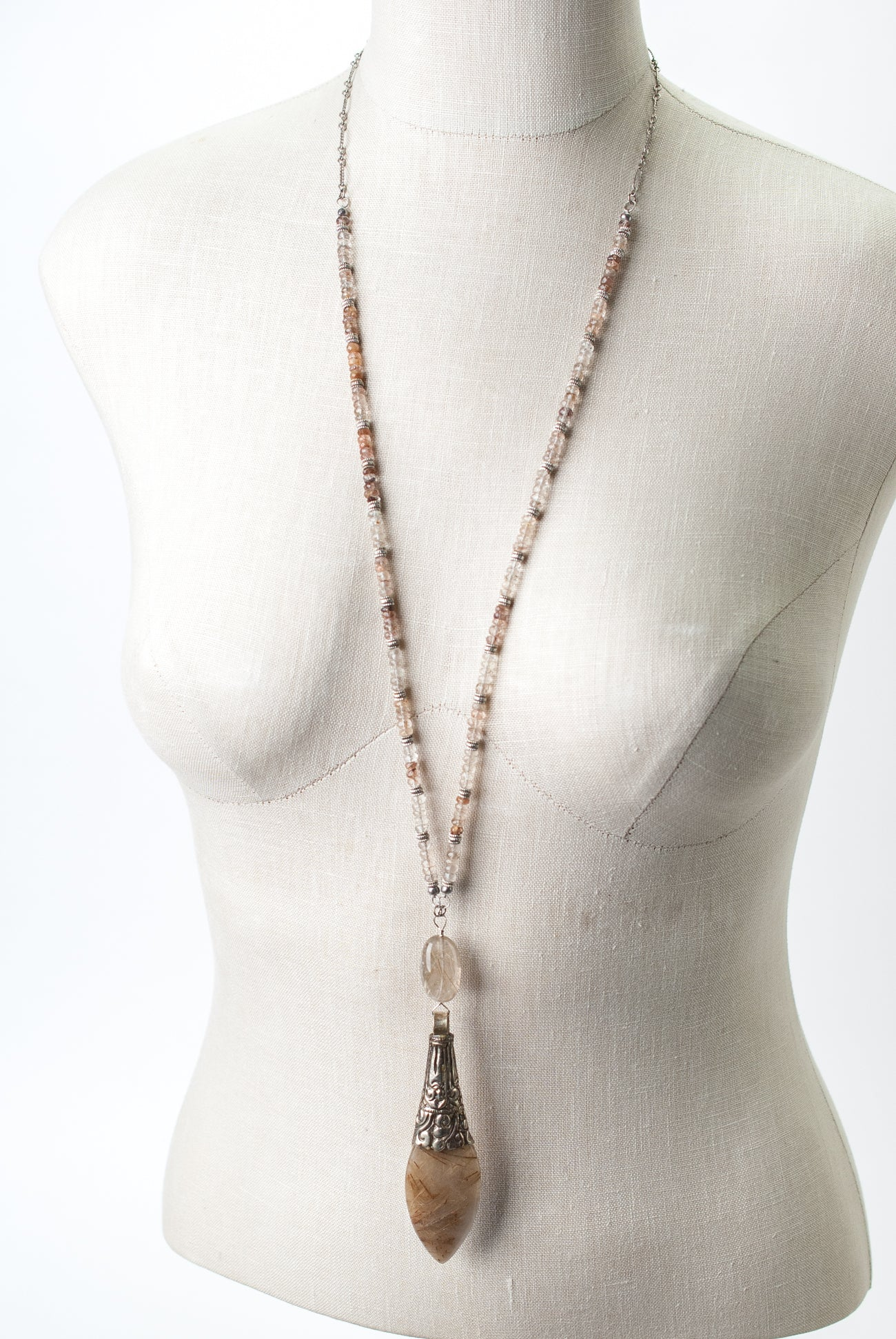"One of a Kind 32-34"" Golden Rutilated Quartz Focal Necklace"