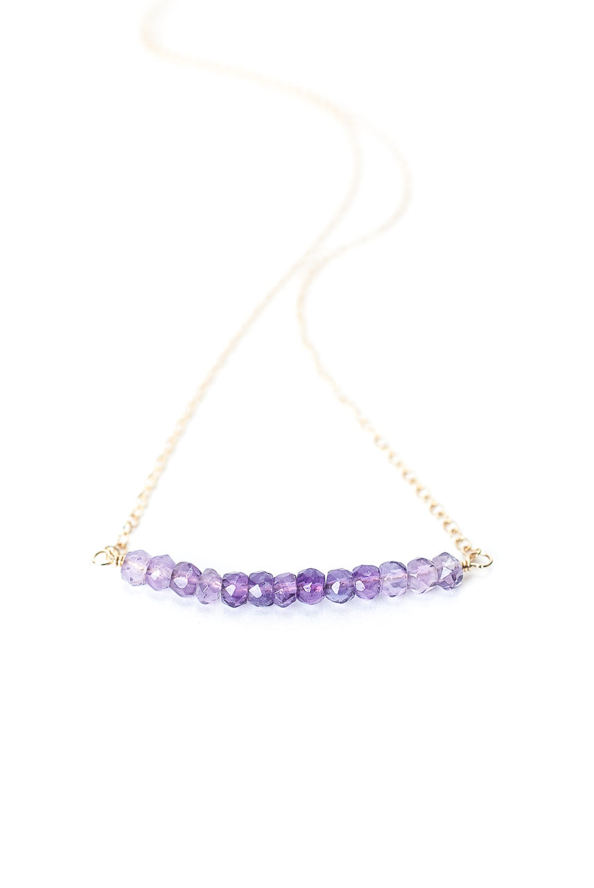 "Birthstone 16-18"" February Gold Amethyst Bar Necklace"