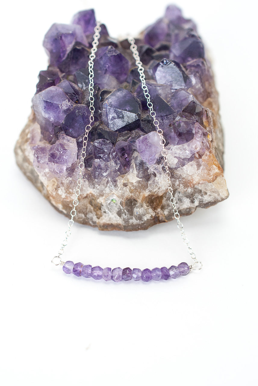 "Birthstone 16-18"" February Silver Amethyst Bar Necklace"
