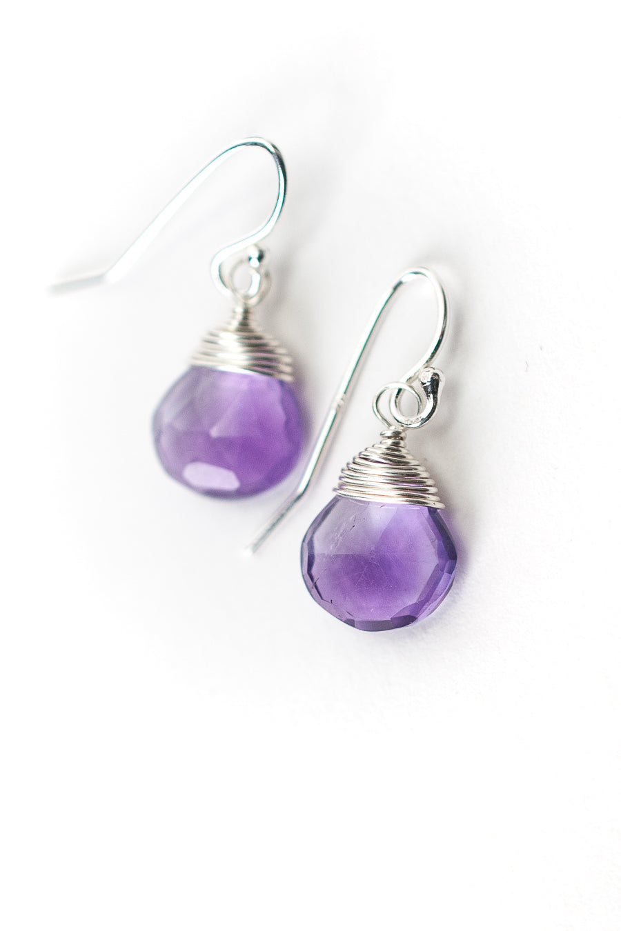 Birthstone February Silver Amethyst Briolette Earrings