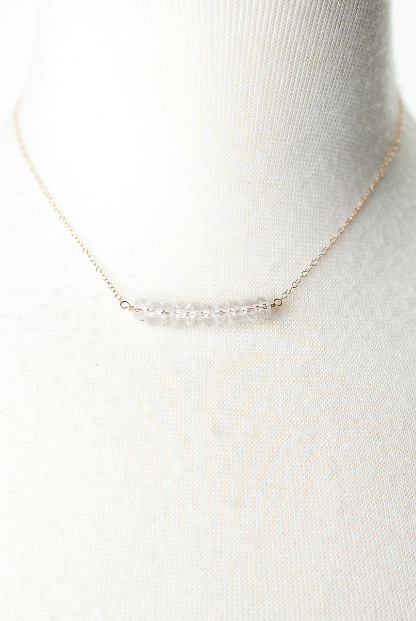 "Birthstone 16-18"" April Gold Quartz Bar Necklace"