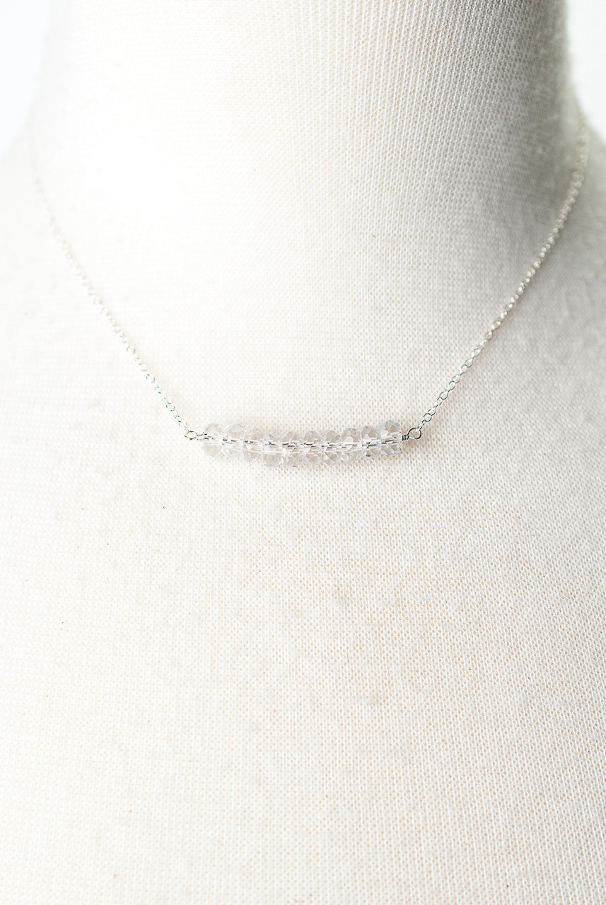 "Birthstone 16-18"" April Silver Quartz Bar Necklace"