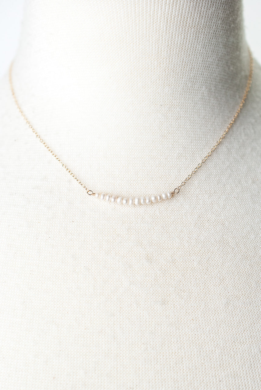 "Birthstone 16-18"" June Gold Pearl Bar Necklace"