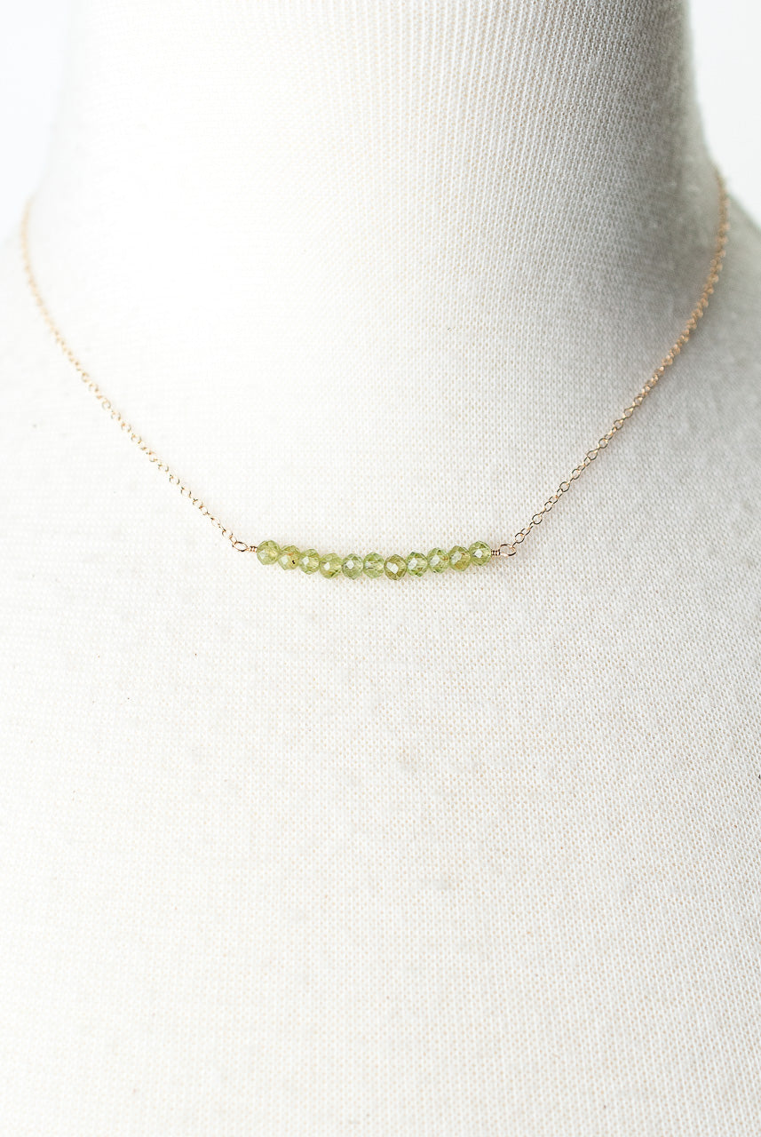 "Birthstone 16-18"" August Gold Peridot Bar Necklace"