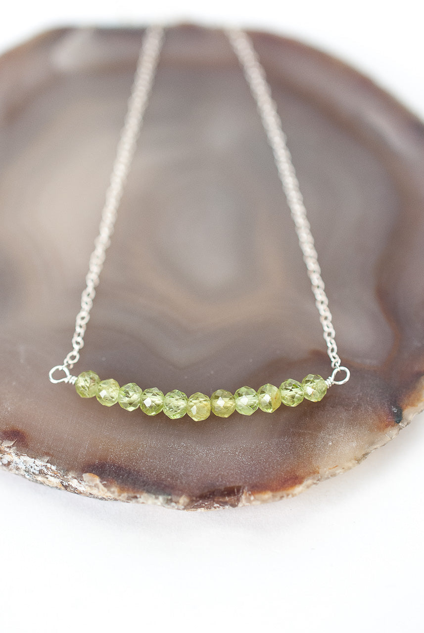 "Birthstone 16-18"" August Silver Peridot Bar Necklace"