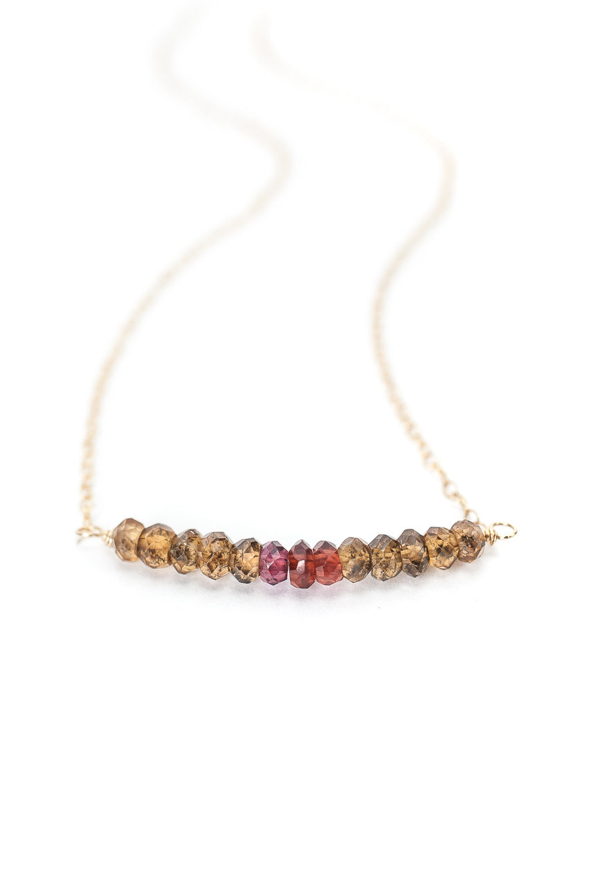 "Birthstone 16-18"" September Gold Sapphire Bar Necklace"